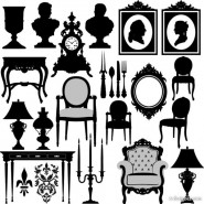 Antique furniture, black and white silhouette 02   vector material
