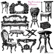 Antique furniture, hand painted pattern vector material   Vector