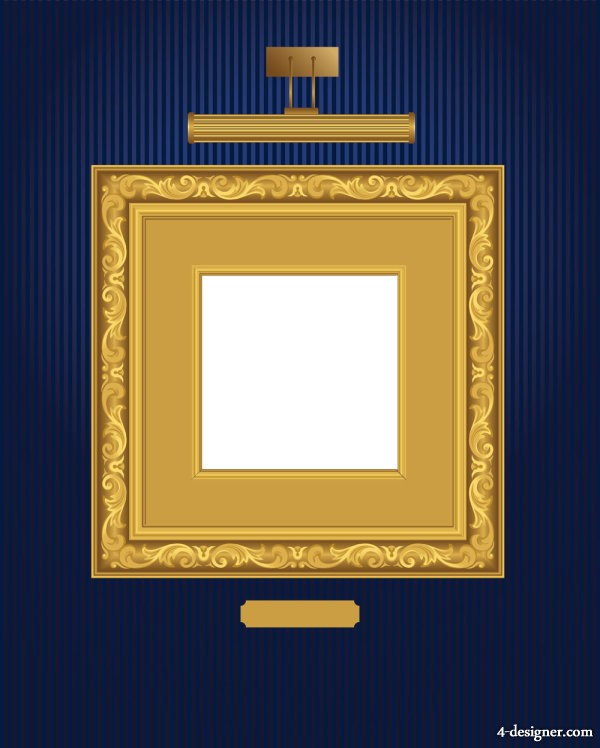 Beautifully ornate pattern picture frame 01   Vector
