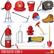 Firefighters and fire equipment 01   vector material
