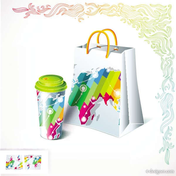 Gorgeous bag and tea 01   vector material