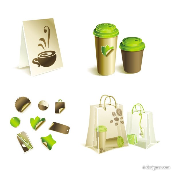 Gorgeous bag and tea 03   vector material