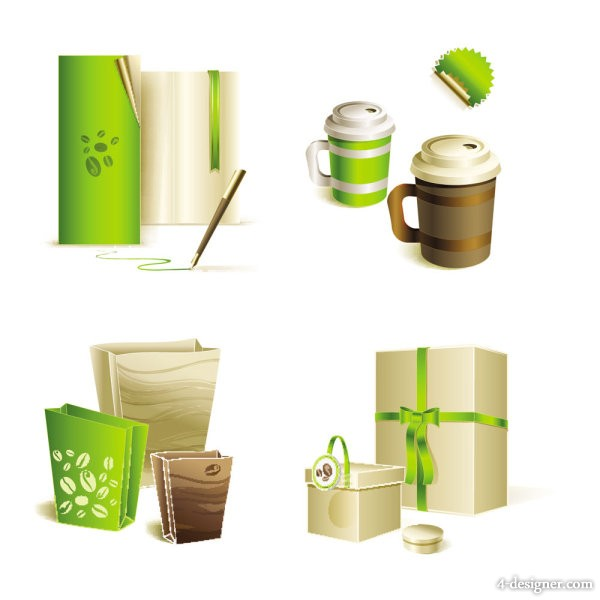 Gorgeous bag with tea vector material of 02   Vector