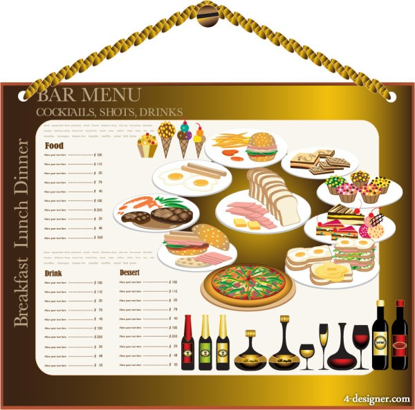 Restaurant menu design 02   vector material