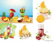Summer drinks ice cream vector material