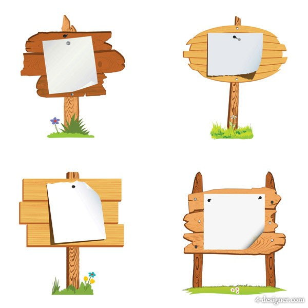 Wood signs vector material  5