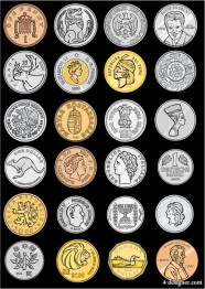 variety of foreign coins vector the