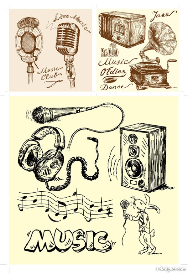 hand painted audio equipment vector material