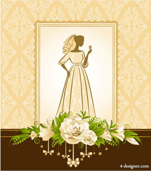 Bride silhouette 02   vector material