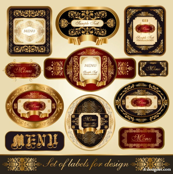 Exquisite label wine label 02   vector material