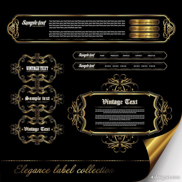 Gorgeous European pattern of label Vector 02   vector material