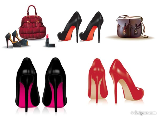 Ladies shoes and handbags   Vector