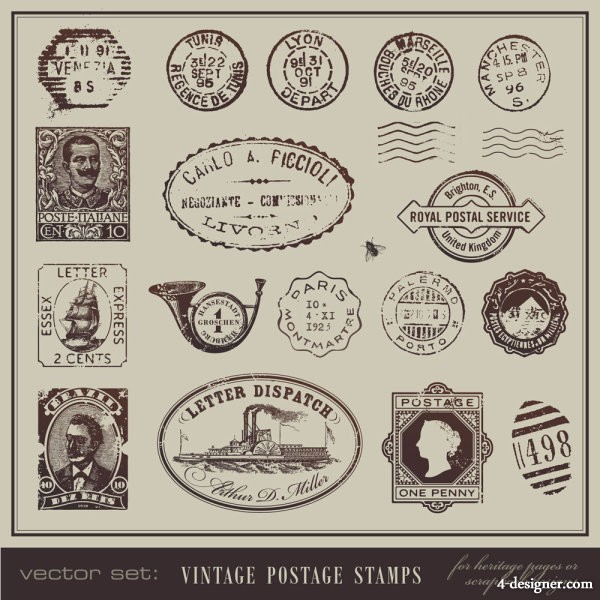 Vintage postcards and stamps   Vector