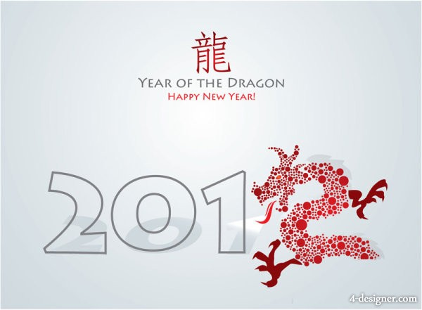 Year of the Dragon in the Year of the Dragon greeting card 03   vector material