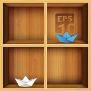 Solid wood bookshelves vector material  2