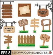 Wood signs 02   vector material