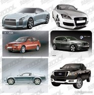 6 models AI cars drawn vector material