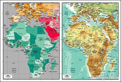 4 Designer | Beautiful vector world map material Africa Map