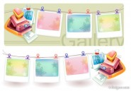 Dream Polaroid camera and photo frame vector material