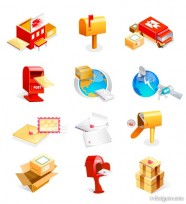 Mailbox, satellite, Earth, parcels, letters and other mail class vector icon