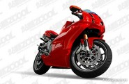 Red ai drawing lifelike motorcycle vector material