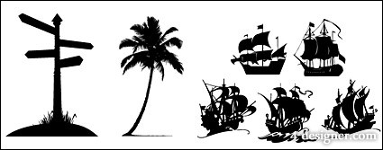 Road signs, coconut trees, sailing silhouette icon material