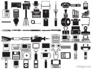 Various silhouette element vector material   office, stationery, digital product class (69 elements)