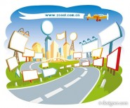 cute cartoon city scene vector material