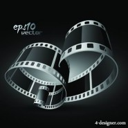 Black and white 3D movie film vector material 01