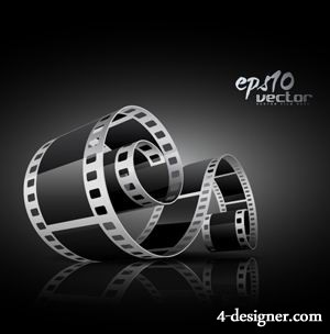 Black and white 3D movie film vector material  3