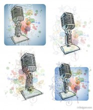 Hand painted microphone vector material