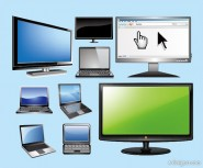 Vector laptop with LCD display vector material the laptop; LCD display; mouse gestures; mouse pointer;