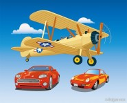 airplanes and cars vector material