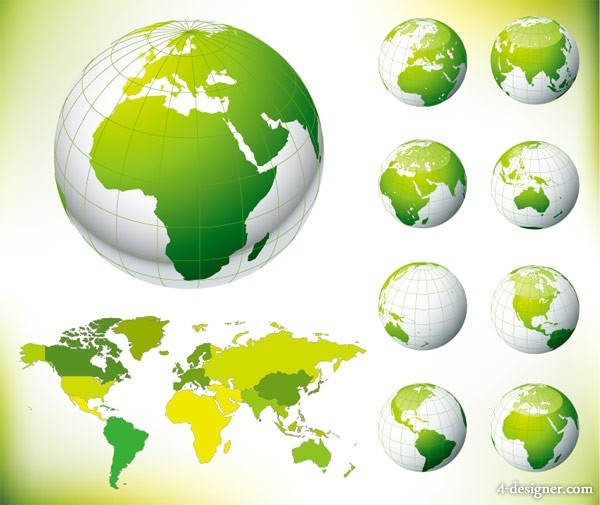 Green Earth world map vector world map; Earth; Green; environmental protection; Vector