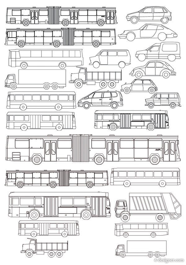 kinds of line drawing car bus vector material
