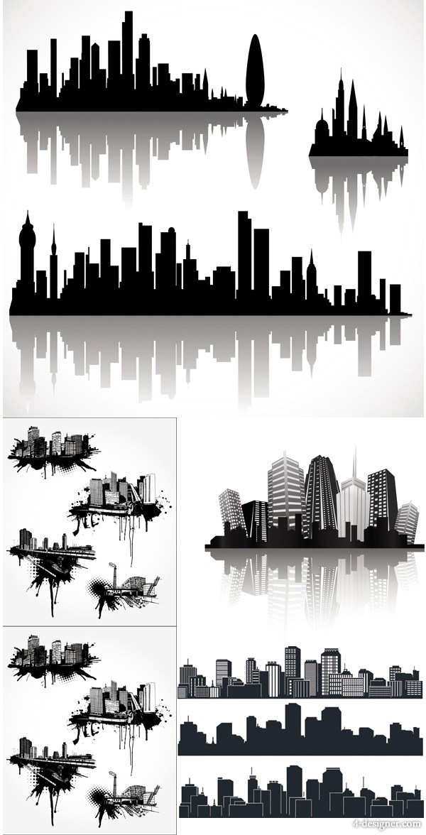 cool city silhouette vector material