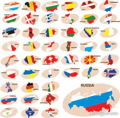 colorful map silhouette vector material  1