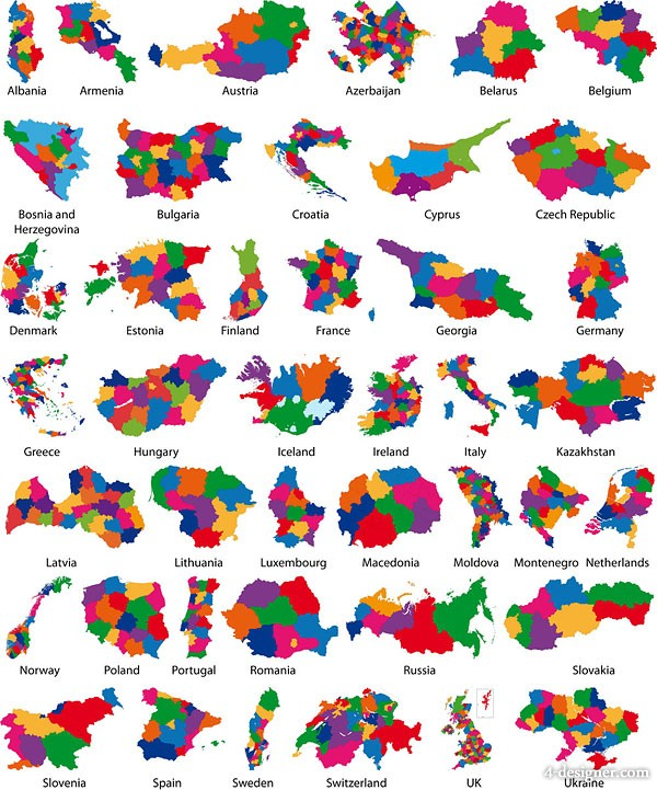 colorful map silhouette vector material  2