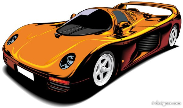 beautiful sports car 02   vector material