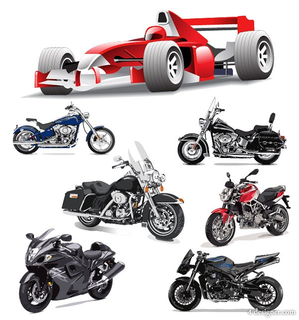 F1 Formula One racing and motorcycle vector material