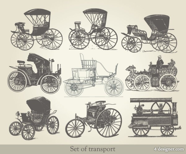 European old fashioned means of transport Vector 02   vector material