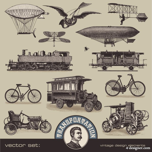 Retro transport in Europe and America 02   vector material