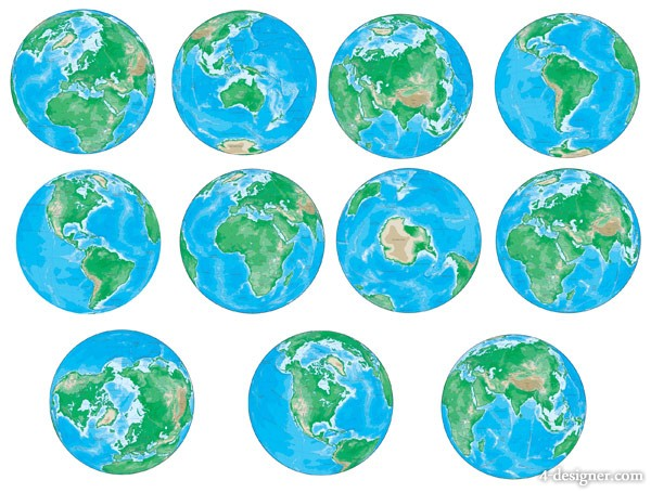 various angles Earth vector material