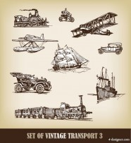European hand drawn transport carrier 01   Vector