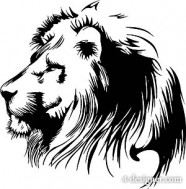 Black and white lion head vector material