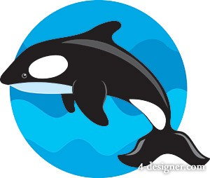 The jumping whales Vector