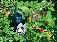 Lush forest animals vector material