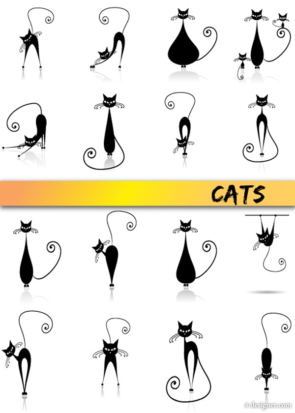 Cartoon cat vector material