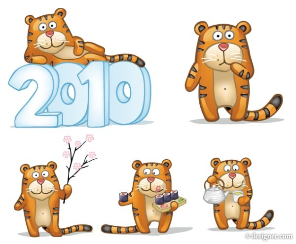 Cute little tiger sets Figure vector material