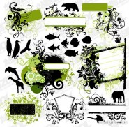 Fashion patterns and animal silhouettes vector material
